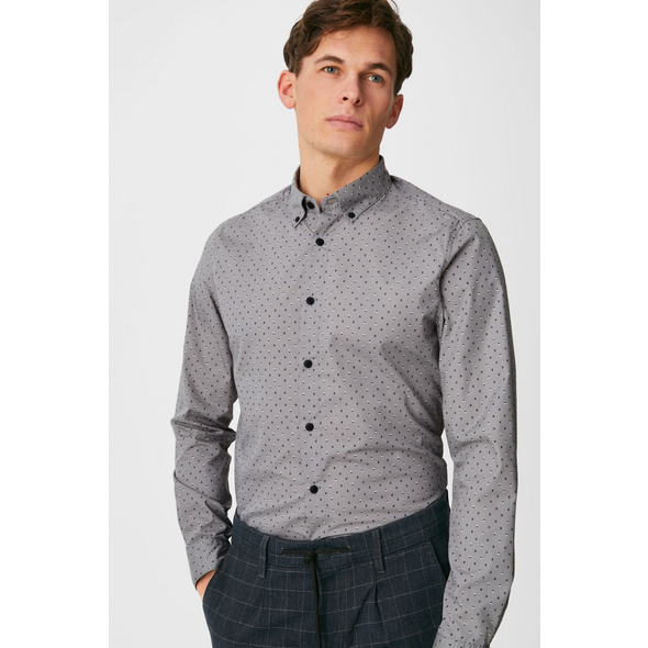 Hemd - Slim Fit - Button-down - gepunktet
